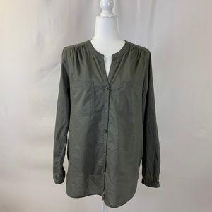 Ann Taylor Loft Army Green Long-sleeved Shirt, M